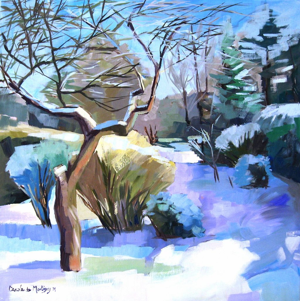 Hiver au jardin carole de montigny artiste peintre for Hiver au jardin