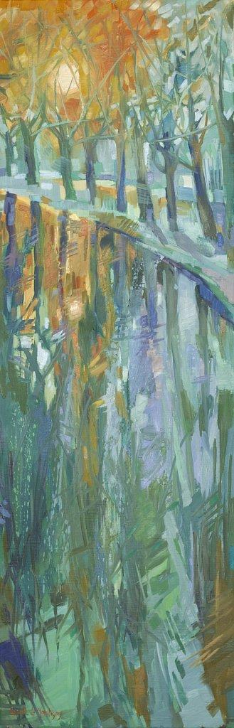 Huile sur toile, Canal du Midi, 120x40cm, 2014