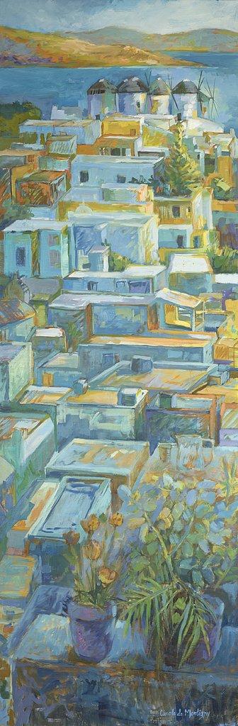 Mykonos, toitures et moulins